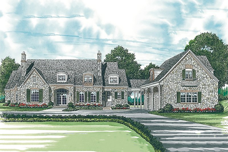 European Style House Plan - 5 Beds 4.5 Baths 5343 Sq/Ft Plan #453-47 Exterior - Front Elevation