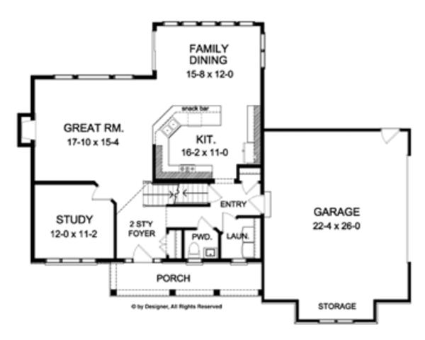 Colonial Floor Plan - Main Floor Plan Plan #1010-48