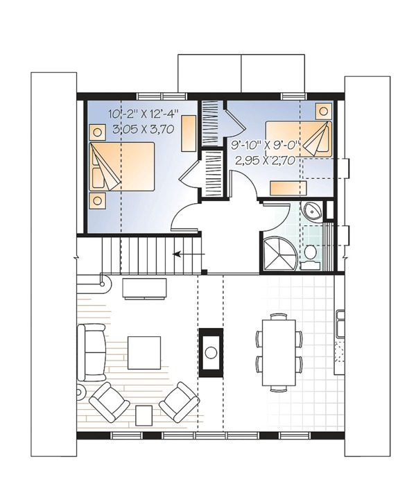 Contemporary Floor Plan - Upper Floor Plan Plan #23-2629
