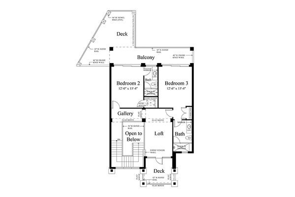 Contemporary Floor Plan - Upper Floor Plan Plan #930-20