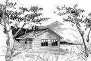 Traditional Style House Plan - 1 Beds 1 Baths 624 Sq/Ft Plan #409-1115 Exterior - Front Elevation