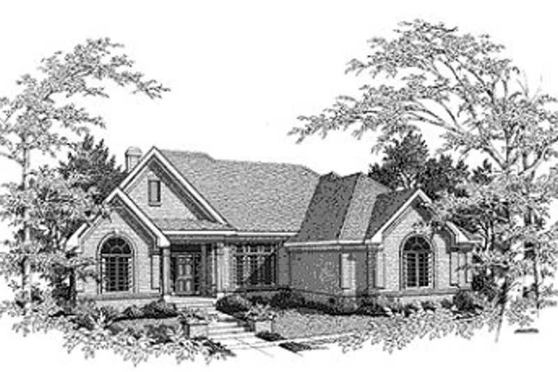 Traditional Style House Plan - 3 Beds 2.5 Baths 2629 Sq/Ft Plan #70-421 Exterior - Front Elevation