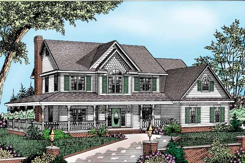 Architectural House Design - Victorian Exterior - Front Elevation Plan #11-253