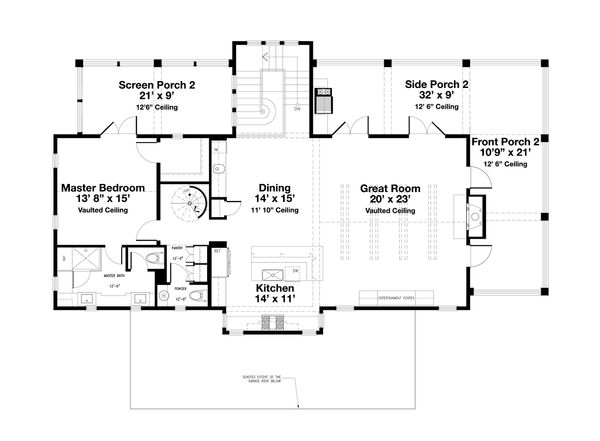 Beach Floor Plan - Upper Floor Plan Plan #443-13