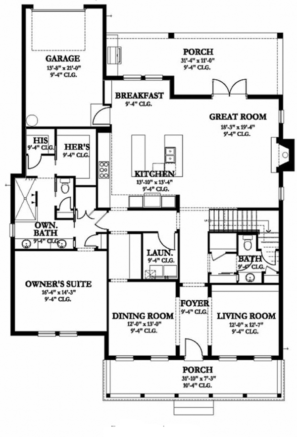 Colonial Floor Plan - Main Floor Plan Plan #1058-132