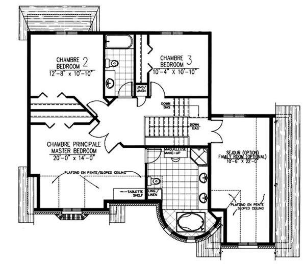 European Floor Plan - Upper Floor Plan #138-336