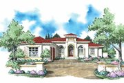 Mediterranean Style House Plan - 4 Beds 3.5 Baths 3166 Sq/Ft Plan #930-309 Exterior - Front Elevation