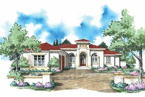 Architectural House Design - Mediterranean Exterior - Front Elevation Plan #930-309