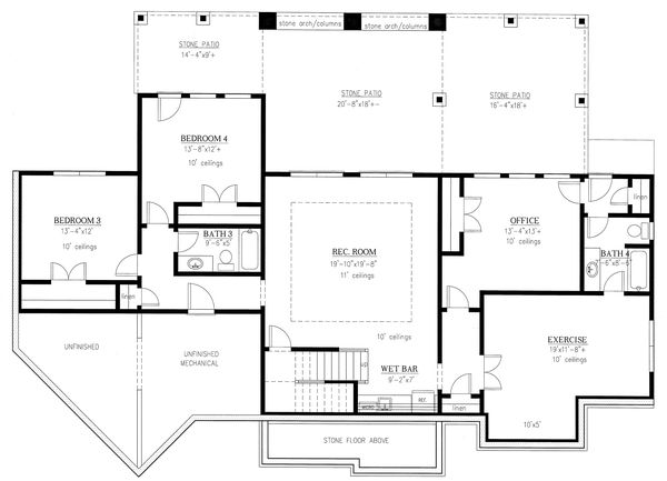 Craftsman Floor Plan - Lower Floor Plan #437-116
