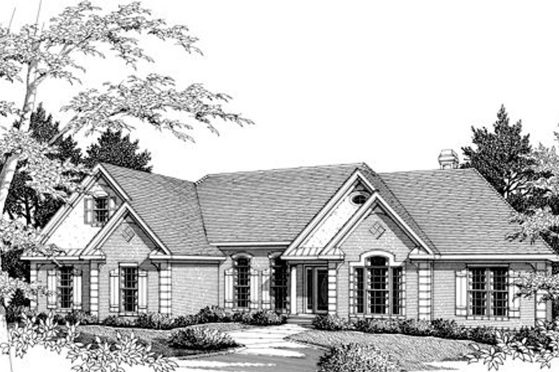 Southern Exterior - Front Elevation Plan #56-176