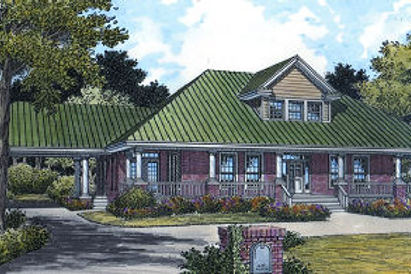 Southern Style House Plan - 3 Beds 2.5 Baths 2842 Sq/Ft Plan #417-341 Exterior - Front Elevation