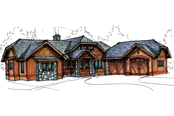 Craftsman Exterior - Front Elevation Plan #921-27