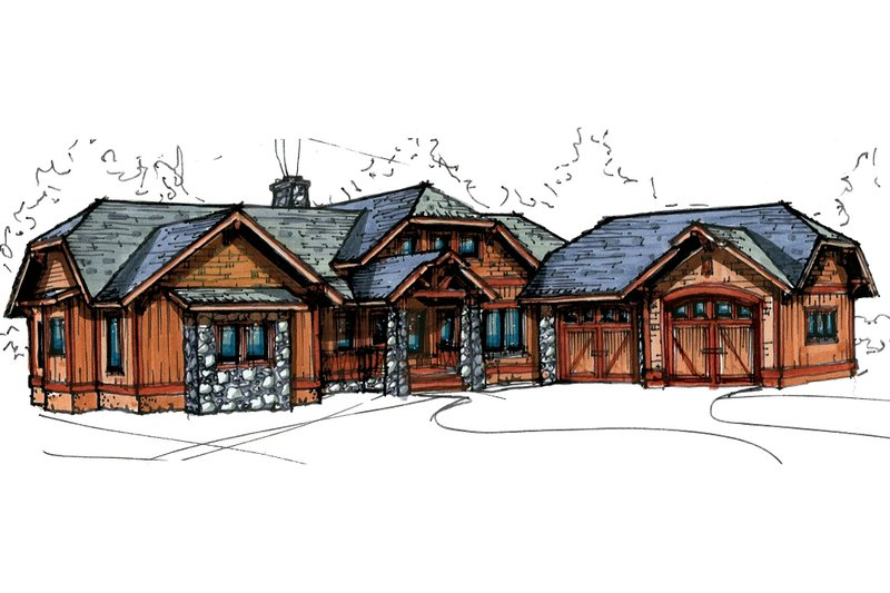 Craftsman Style House Plan - 3 Beds 2.5 Baths 2005 Sq/Ft Plan #921-27 Exterior - Front Elevation
