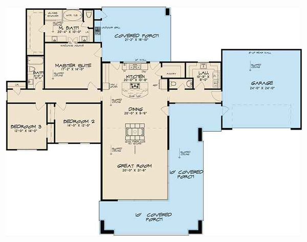 Contemporary Floor Plan - Main Floor Plan Plan #17-3385