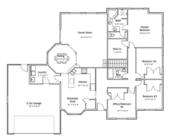 Ranch Floor Plan - Main Floor Plan Plan #1060-34