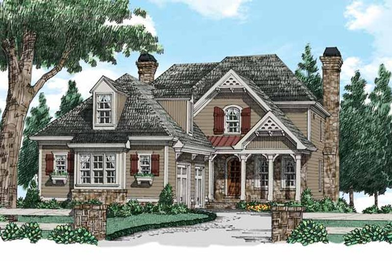 Country Exterior - Front Elevation Plan #927-937