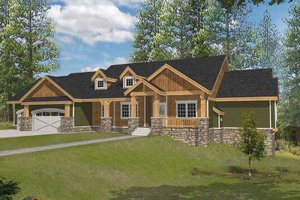 Craftsman Exterior - Front Elevation Plan #1037-14