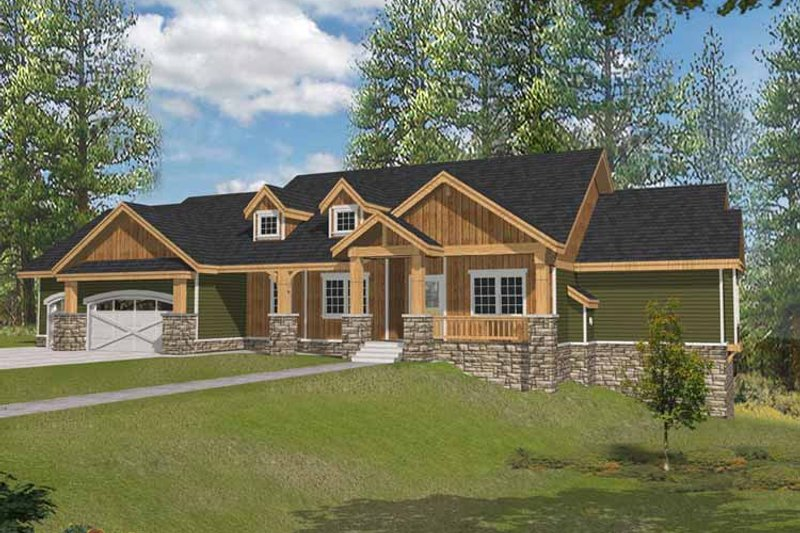 Craftsman Exterior - Front Elevation Plan #1037-14 - Houseplans.com