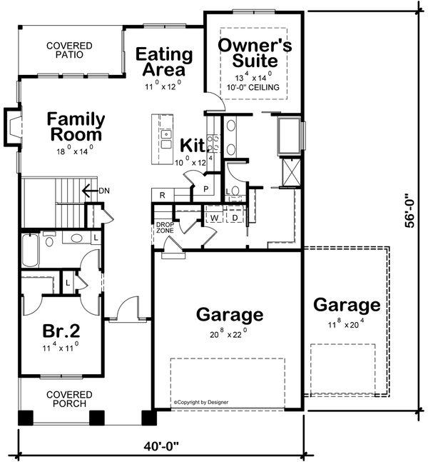 Dream House Plan - Farmhouse Floor Plan - Main Floor Plan #20-2446