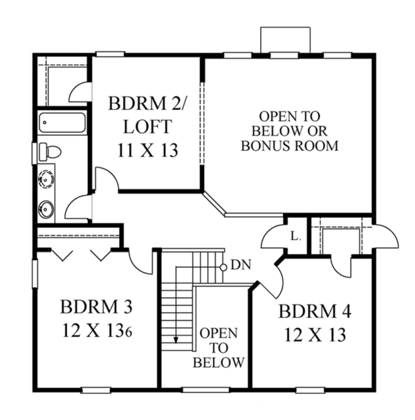 Classical Floor Plan - Upper Floor Plan Plan #1053-62
