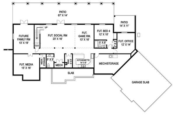 Craftsman Floor Plan - Lower Floor Plan Plan #119-426