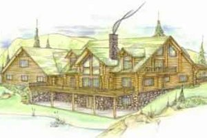 Log Exterior - Front Elevation Plan #117-121
