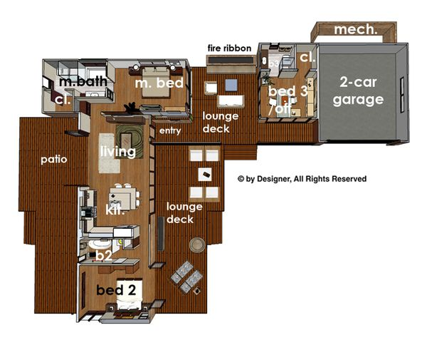 Contemporary Floor Plan - Main Floor Plan Plan #484-12