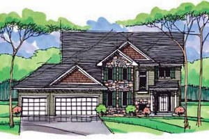 House Blueprint - Colonial Exterior - Front Elevation Plan #51-1002