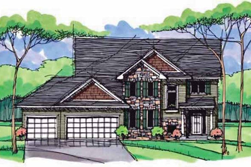 Colonial Exterior - Front Elevation Plan #51-1002