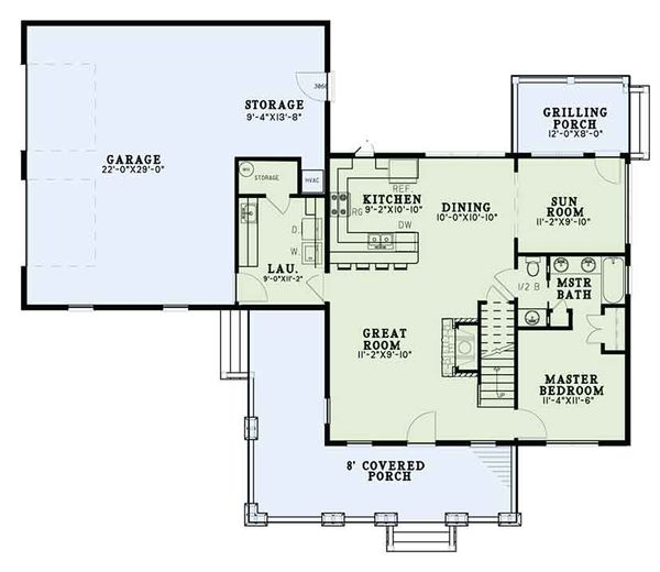 House Design - Country Floor Plan - Main Floor Plan #17-3406