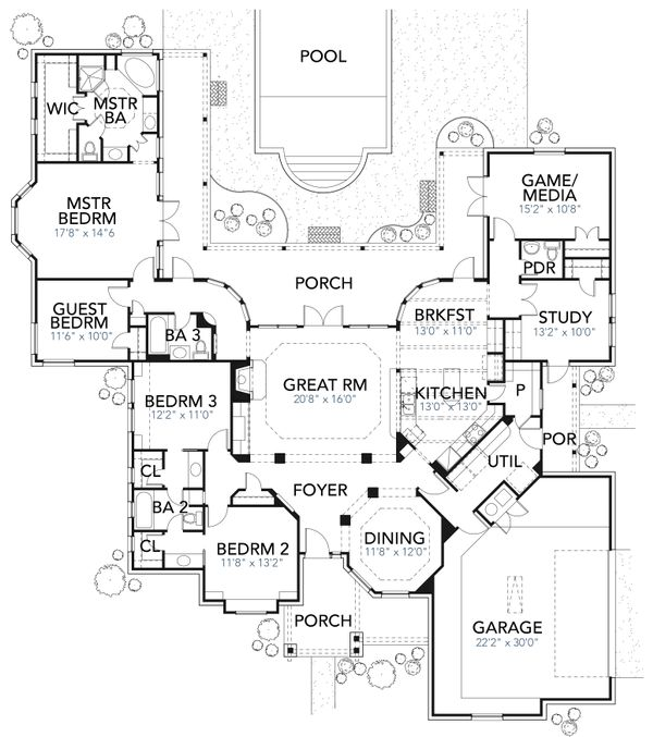 Traditional Floor Plan - Main Floor Plan Plan #80-173