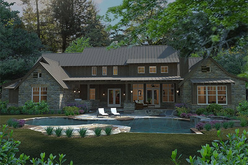 Craftsman Exterior - Rear Elevation Plan #120-186 - Houseplans.com