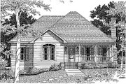 Traditional Style House Plan - 3 Beds 2 Baths 1631 Sq/Ft Plan #41-121 Exterior - Front Elevation