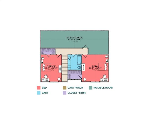 Farmhouse Floor Plan - Upper Floor Plan Plan #63-430