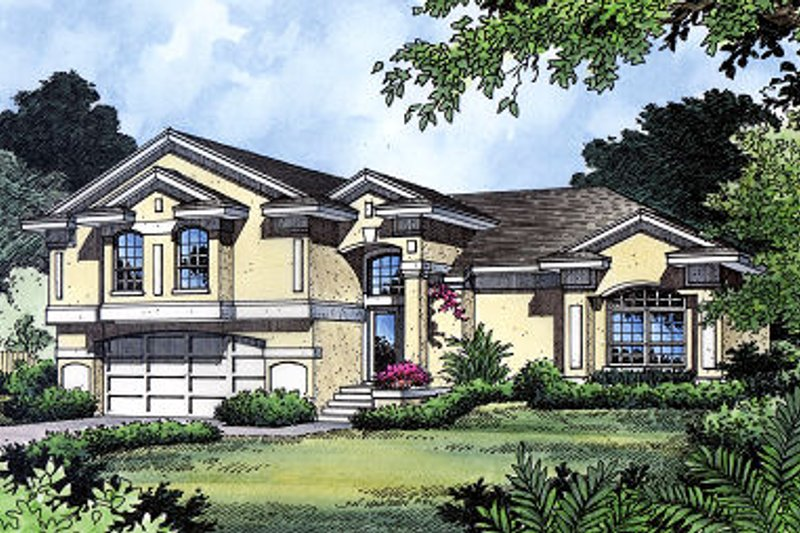 Mediterranean Style House Plan - 4 Beds 2.5 Baths 1995 Sq/Ft Plan #417-177 Exterior - Front Elevation