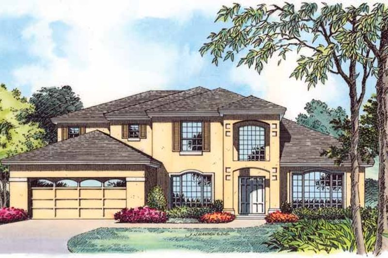 Dream House Plan - Mediterranean Exterior - Front Elevation Plan #1015-4