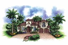 Architectural House Design - Mediterranean Exterior - Front Elevation Plan #1017-124