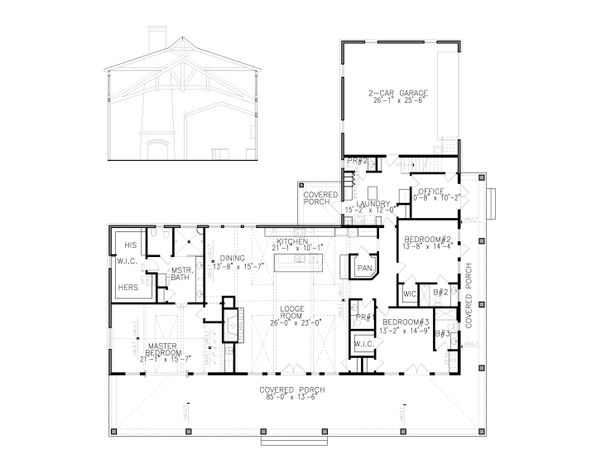 Ranch Floor Plan - Main Floor Plan #54-400