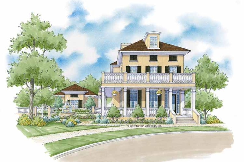 Southern Exterior - Front Elevation Plan #930-402