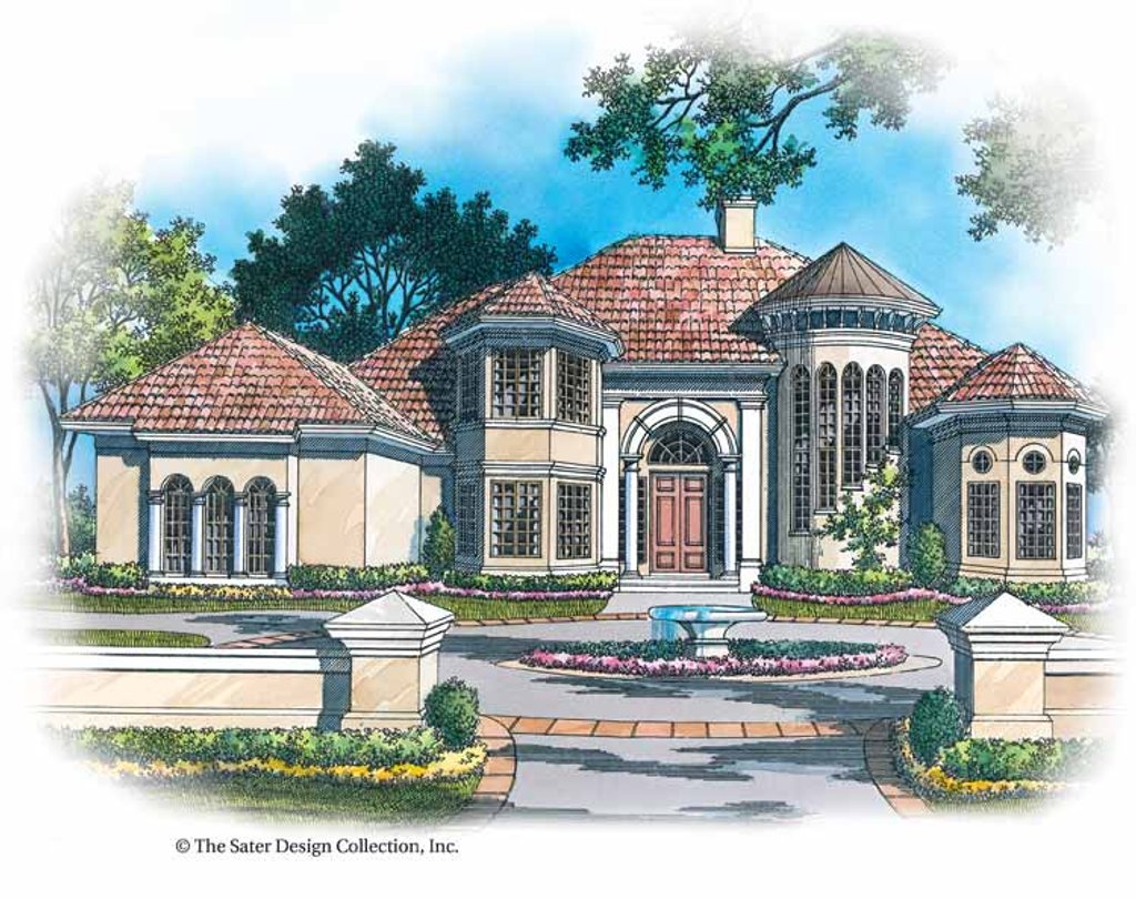 The Sater Design Collection mediterranean style house plan - 4 beds 3.5 baths 3893 sq/ft plan #930-119