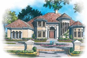 Dream House Plan - Mediterranean Exterior - Front Elevation Plan #930-119