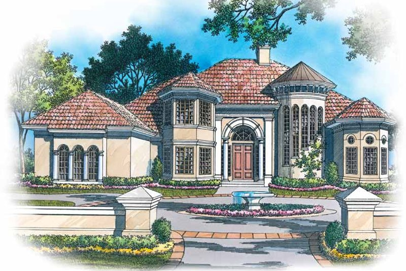 Mediterranean Style House Plan - 4 Beds 3.5 Baths 3893 Sq/Ft Plan #930-119 Exterior - Front Elevation