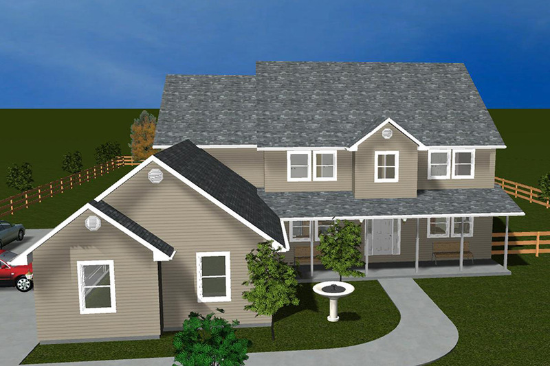 Colonial Exterior - Front Elevation Plan #1060-1