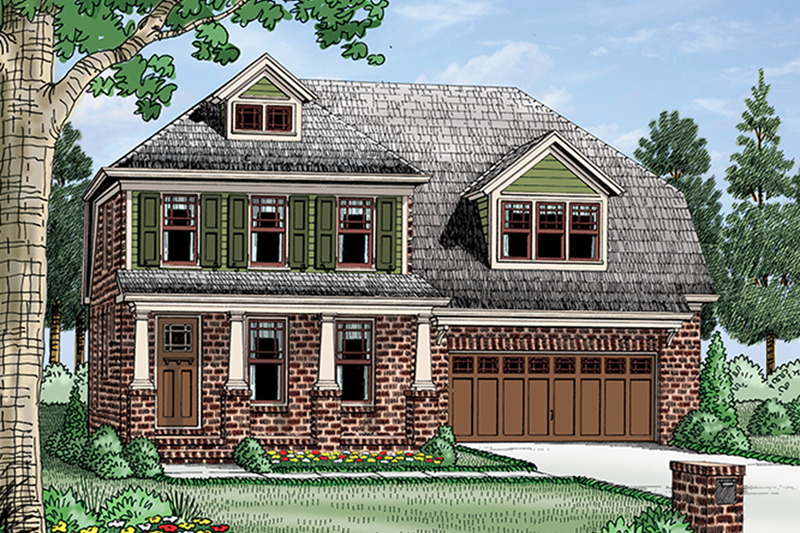 Colonial Exterior - Front Elevation Plan #927-975