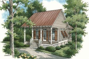 Cottage Exterior - Front Elevation Plan #45-334