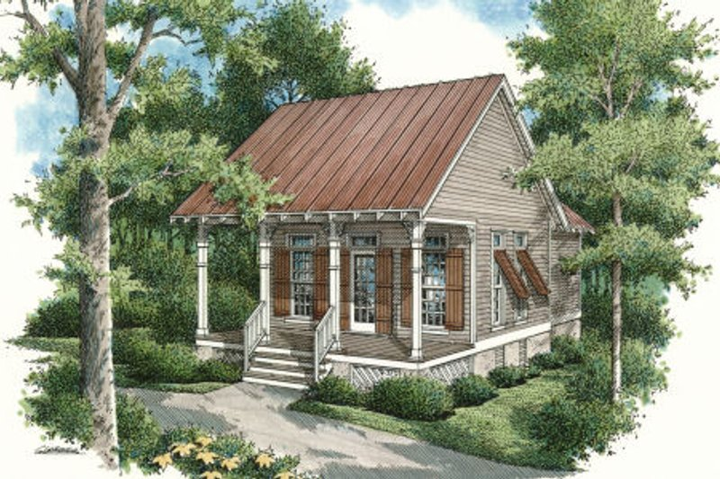 Cottage Style House Plan - 1 Beds 1 Baths 569 Sq/Ft Plan #45-334 Exterior - Front Elevation