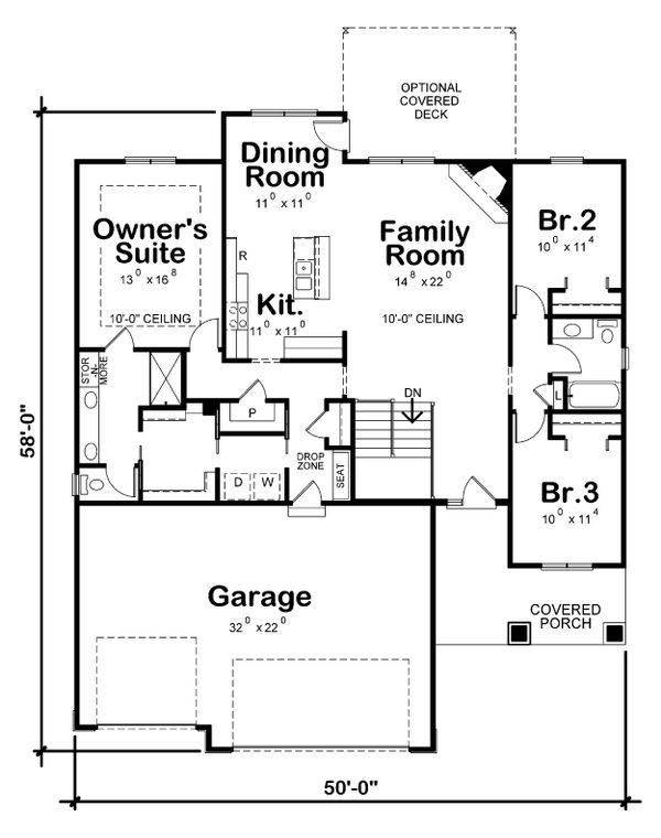 House Plan Design - Craftsman Floor Plan - Main Floor Plan #20-2323