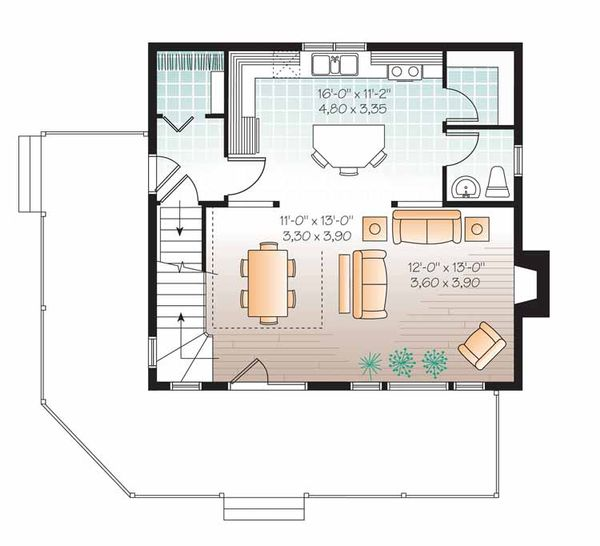 European Floor Plan - Main Floor Plan Plan #23-2493