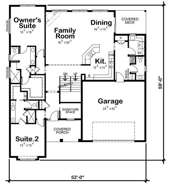 House Plan Design - Craftsman Floor Plan - Main Floor Plan #20-2281