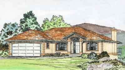 Mediterranean Exterior - Front Elevation Plan #126-125